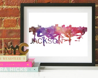Jackson Watercolor Skyline, Jackson Skyline, Jackson Art, Jackson Poster, Jackson Print, Jackson Art, Jackson Map, Jackson Wall Art