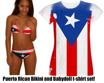 Puerto Rican Flag Bikini and T-shirt topper Set - Puerto Rican Pride Bikini and Flag T-shirt