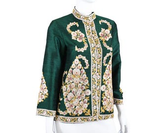 Vintage Tambour Embroidery Silk Chinese Jacket S
