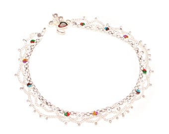 Refined anklets with Interwoven chains and bells