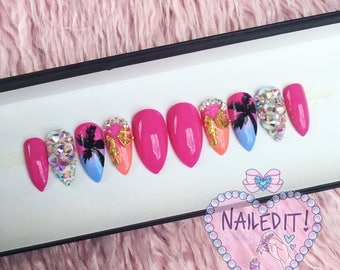 NAILED IT! Hand Painted False - Ombre Tropical Beach