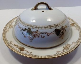 Antique Nippon Gold on White Covered Porcelain Dish