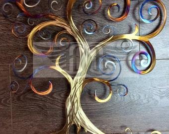 11th Anniversary Heated Stainless Steel Swirly Tree of Life
