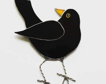 Bonny blackbird glass ornament, suncatcher