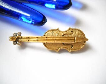 DeNicola Violin Brooch Musical Instrument Jewelry Vintage Violin Fiddle Folk Mid Century