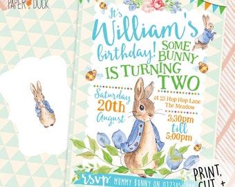 Printable Personalised Childrens PETER RABBIT Bunny Birthday Party Invitations Flower Garden Stationary Digital