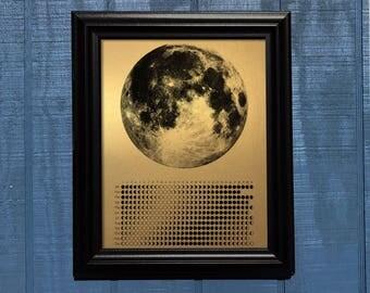 Moon Phase Calendar 2017, 13 x 19 metallic paper, copper, gold, silver, moon, la luna, moon phases, full moon, 2017 calendar, copper decor