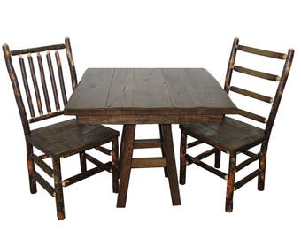 "Barnwood Table and Chairs 3 Piece Set with 36"" Square Table and 2 Rustic Hickory & Barnwood Chairs"