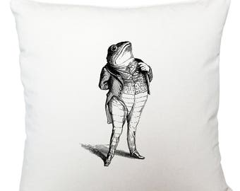 Toad in a suit cushion cover, scatter cushion, throw cushion, white cushion
