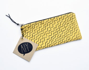 WAVES/ hand screen printed linen pencil case with waves design in bright yellow/ bag organizing/ stationary/ school supplies