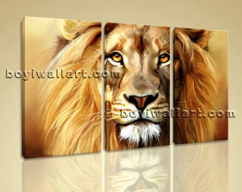 Large Lion Head Painting Canvas Art Abstract Bedroom Three Panels Giclee Prints, Large Lion Wall Art, Bedroom, Marigold