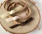 Neapolitan trio velvet ribbon headbands | set of 3 headband no dent nylon elastic band | velvet bow | baby toddler