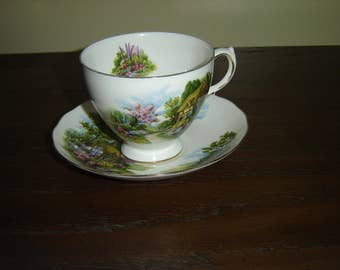 Royal Vale 7382 cottage scene cup and saucer VGU