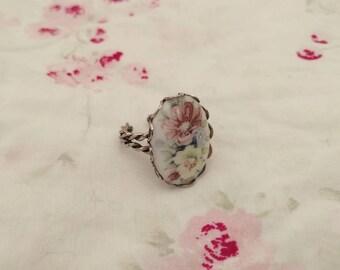 Floral Adjustable Ring. Adjustable Ring. Floral Ring. Vintage Ring.