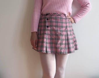 handmade tennis skirt pleats pleat mini skirt checked 90s cute kawaii high waisted waist skirt