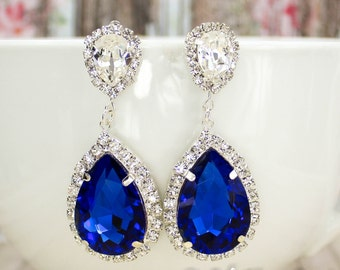 Sapphire Bridal Earrings Bridal Earring Blue Bridal Jewelry Statement Bridal Earring Drop Earring David Bridal Horizon Bridesmaid Pageant