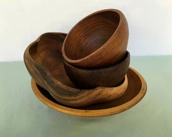 Collection of Vintage Wood Salad Bowls Free Shipping