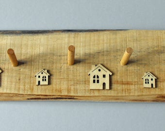 Hand made peg rails from re-claimed wood