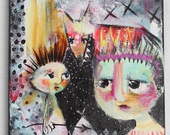 """Original Art on canvas: """"Trying hard to be a brave little warrior"""", 20 x 20 cm / 7.8 x 7.8"""""""