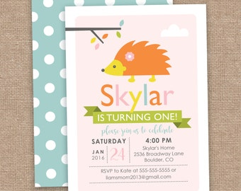First Girl Birthday Hedgehog Woodland Invitation, 1st Birthday, Toadstool, Forest Animals, DIY Printable
