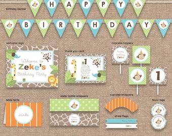 Jungle 1st Boy Birthday Monkey & Animals Package WITHOUT Invitation, Safari Zoo, DIY Printable, Any Age