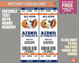 Sports Ticket Invitation with FREE Thank you Card! - (Blue and Orange) All Star Birthday - Edit and print at home with Adobe Reader