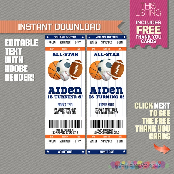 sports ticket invitation with free thank you card blue and