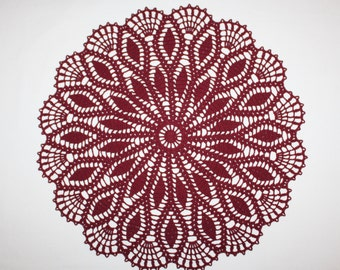 Large Crochet Doily, Lace Doily, Flower Doily, Cotton Doily, Crochet Placemat, Table Topper, 17 inches