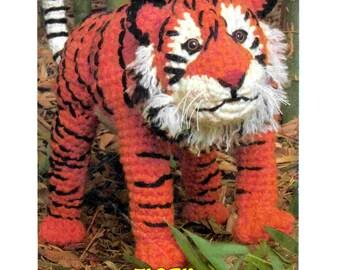 INSTANT DOWNLOAD PDF  Vintage Crochet Pattern  Large Tiger  Retro 1970s Soft Toy Animal Safari Zoo Jungle