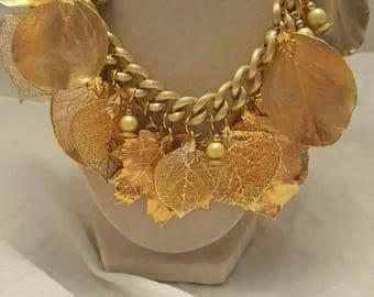 14K Gold Leaf Necklace Gold Necklace Gold Leaf Necklace 14K Gold Necklace Leaf Necklace Statement Necklace Bib Necklace Gold Bib Necklace
