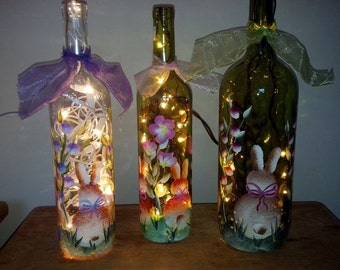 Spring Bunny Lighted Wine Bottle