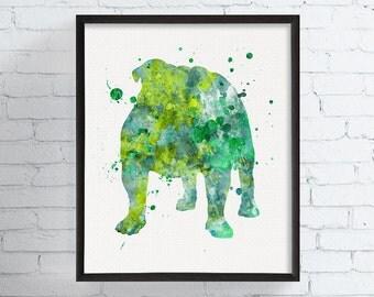 English Bulldog Art, English Bulldog Print, Watercolor English Bulldog, English Bulldog Poster, Dog Wall Decor, Dog Poster, Dog Painting