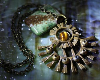 Vintage Brutalist Necklace Finland, with Tiger's Eye Cabochon