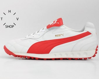 NOS Puma Avanti sneakers / Vintage mens leather kicks / Atletic running white red trainers / Lifestyle daily shoes / made in Vietnam / 90s