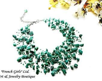Raw Amazonite Floating Necklace Green Blue Gemstone Glass Seed Beads Crochet Air Invisible Statement Crystal Healing Stone Jewelry Necklace