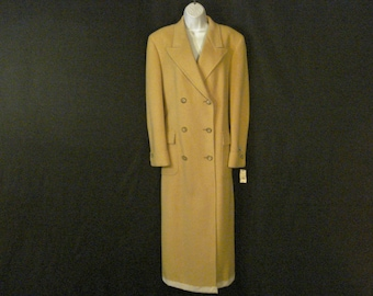 Camel Hair Coat Double Breasted Brooks Brothers Long Tan Outerwear Tailored Coat L XL