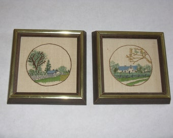 Matching pair vintage embroidery pictures small landscape house