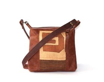Brown Leather Cross Body Bag - Brown Leather Boho Bag - African Kuba Cloth - Boho Chic Shoulder Bag - Tribal Leather Bag