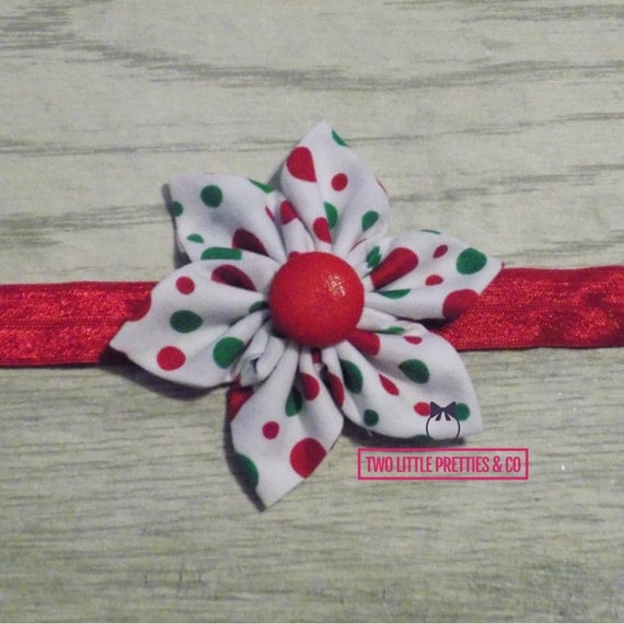 Red & green polka dot Large Fabric Flower Headband Baby Girl | Hand sewn