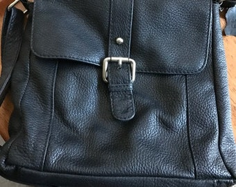 Vintage Roomy Black Genuine Leather Purse