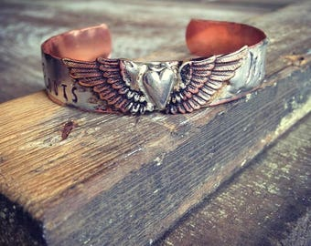 Miranda Lambert Roots and Wings cuff bracelet, Bullet Jewelry, Bohemian Hippie Cowgirl Gypsy Cuff Bracelet