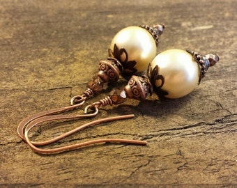 Victorian Earrings, Pearl Earrings, Copper and Pearl Earrings, Dangle Earrings, Drop Earrings