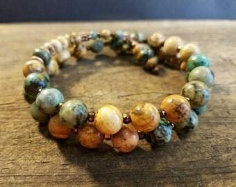 Boho Bracelet, Wrap Bracelet, Beaded Bracelet, African Turquoise Bracelet, Handmade Bracelet