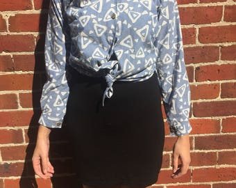 Blue patterned tie up blouse
