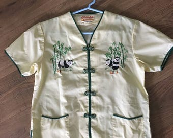 Vintage 50s Children's Pajamas, Embroidered Golden Bell Brand Chinese pj's, Panda Bears, size 10
