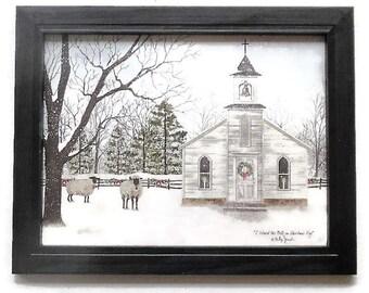 I Heard the Bells on Christmas Day, Christmas Decor, Billy Jacobs, Art Print, Wall Hanging, Handmade, Custom Wood Frame, Made in the USA