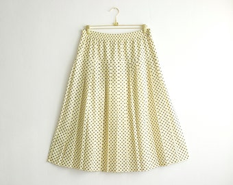 Vintage High Waisted Skirt, Polka Dot Yellow Skirt, Midi Skirt,  Elastic Waist Skirt, Rockabilly Skirt Size Large 44