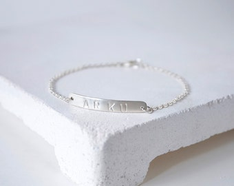 Customized Personalized Silver Bar Bracelet, Custom nameplate, Sterling Silver, Made to Order