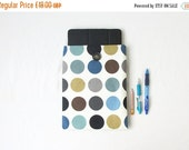 ON SALE Spotty IPad case, 10 inch tablet case, fabric tablet sleeve, blue gold spotty, fabric ipad cover, IPad Air cover, handmade in the UK