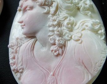 Hand carved Pink shell Cameo Pendant